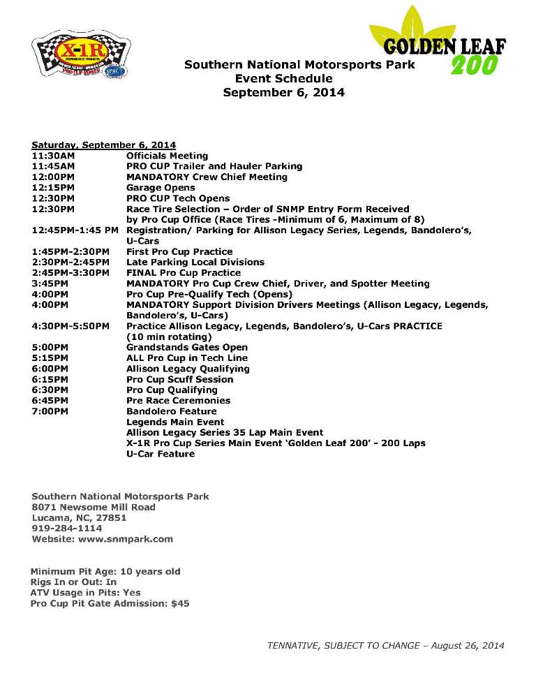 Southern National Schedule