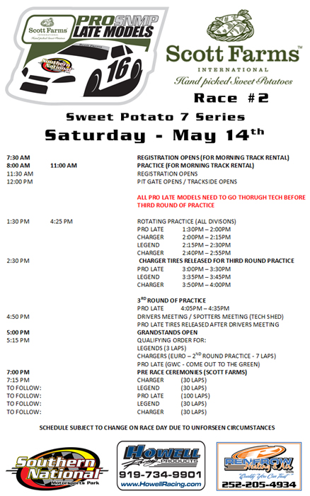 Racing Calendar May : Raceday schedule southern national motorsports park