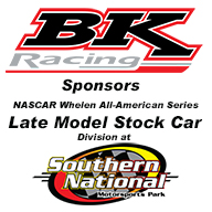 BK Racing to Sponsor the Late Model Division at Southern National Motorsports Park Bumping Purse to $2,000 to Win