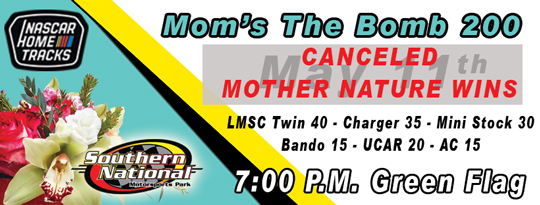 Mother Nature Wins at Kenly for the Weekend – Racing has been Canceled!!